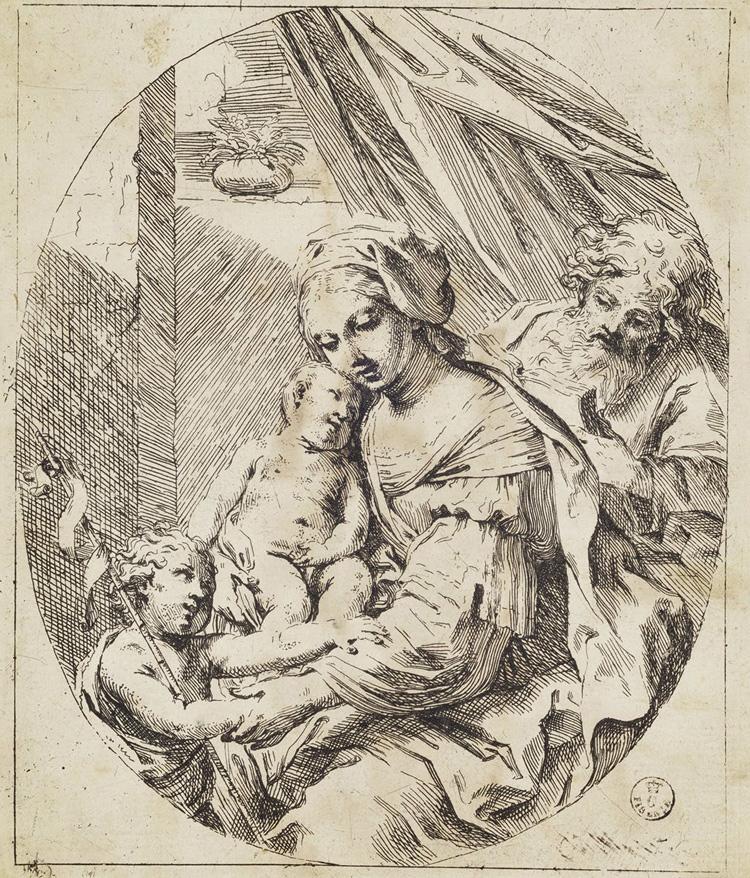 Elisabetta Sirani, Sacra Famiglia con san Giovannino (acquaforte; Firenze, Gallerie degli Uffizi, Gabinetto dei Disegni e delle Stampe)
