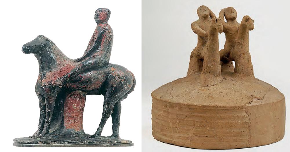 A sinistra: Marino Marini, Piccolo Cavaliere. A destra: Arte etrusca, Coperchio con presa plastica a forma di due cavalieri