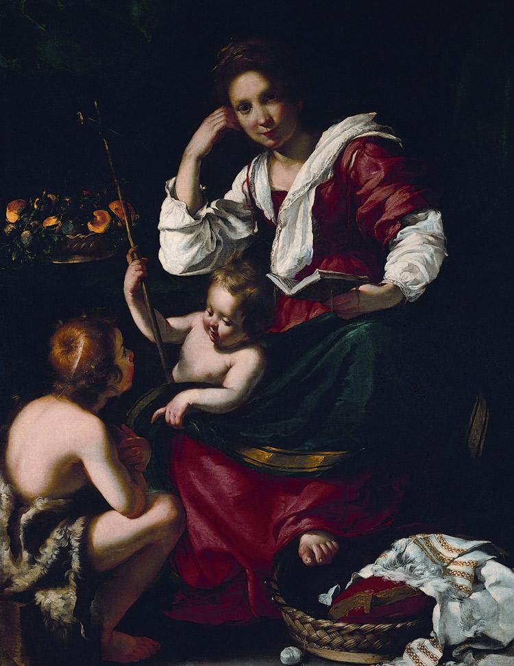 Bernardo Strozzi, Madonna con il Bambino e san Giovannino (1620-1622; olio su tela, 158 x 126 cm; Genova, Musei di Strada Nuova - Palazzo Rosso)