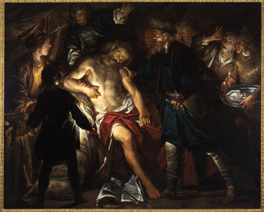 Gioacchino Assereto, La morte di Catone (1640 circa; olio su tela, 203 x 279 cm; Genova, Musei di Strada Nuova - Palazzo Bianco)