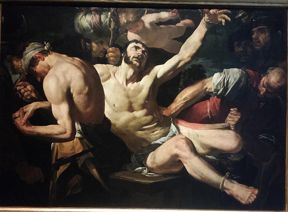 Gioacchino Assereto, Martirio di san Bartolomeo (1630-1635 circa; olio su tela, 120 x 170 cm; Genova, Museo dell'Accademia Ligustica di Belle Arti)