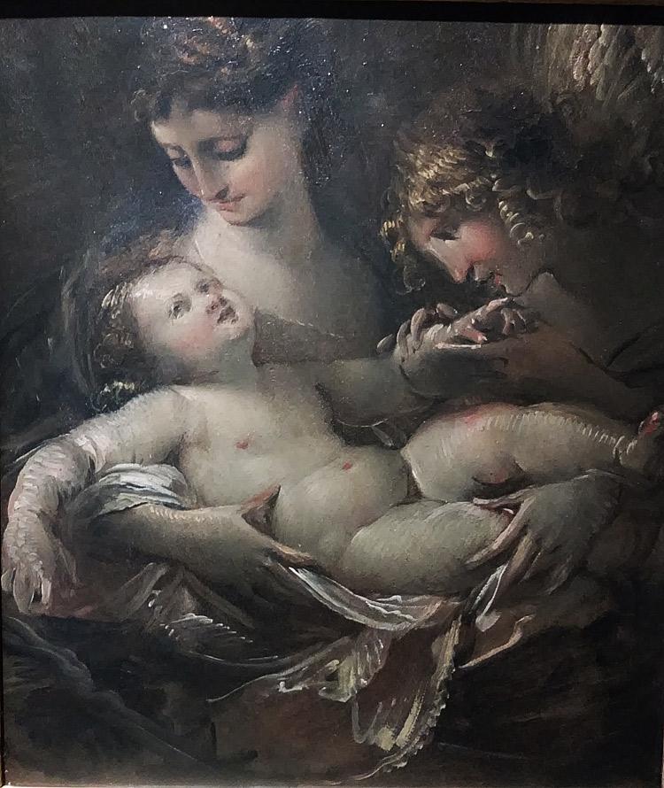 Giulio Cesare Procaccini, Madonna con il Bambino e un angelo (1613-1615 circa; olio su tavola, 36,5 x 31 cm; Napoli, Museo di Capodimonte)