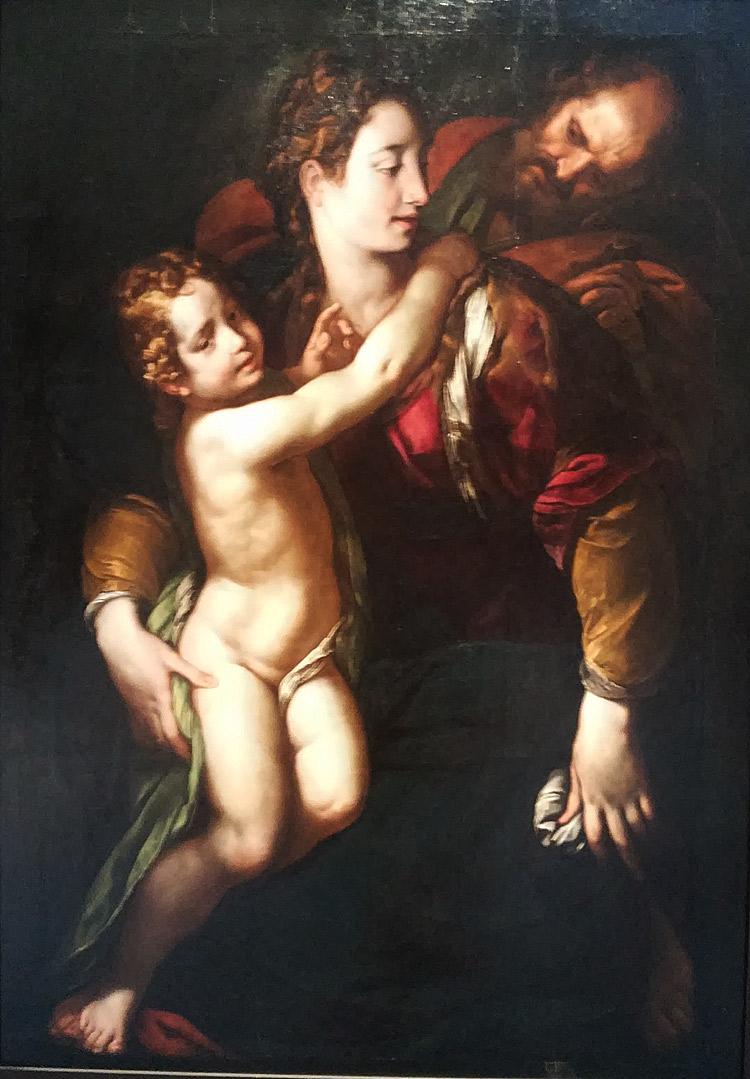 Giulio Cesare Procaccini, Sacra Famiglia (1620-1625 circa; olio su tavola, 159 x 113 cm; Milano, Collezione privata)
