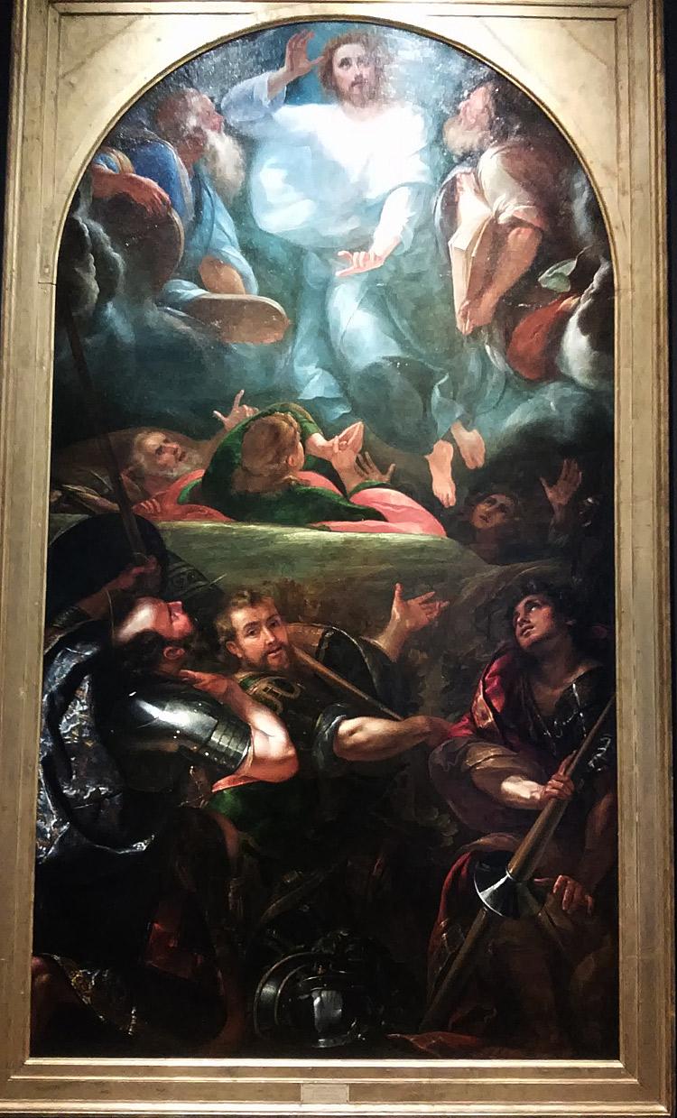 Giulio Cesare Procaccini, Trasfigurazione con i santi Basilide, Cirino e Naborre (1607-1608; olio su tela, 350 x 190 cm; Milano, Pinacoteca di Brera)