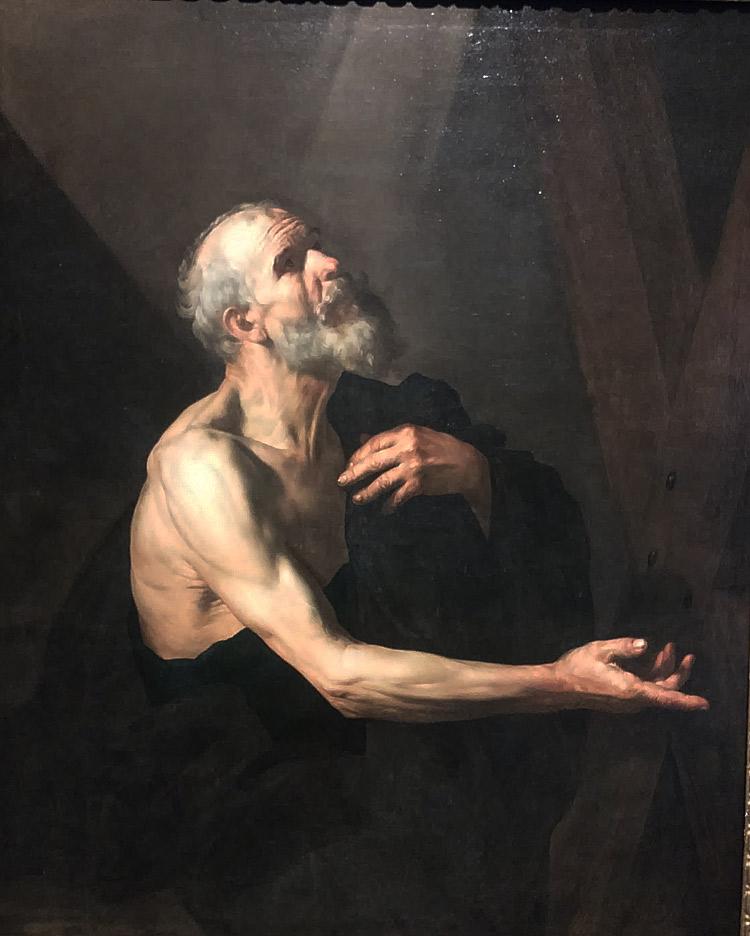 José de Ribera, Sant'Andrea (1616-1618 circa; olio su tela, 136 x 112 cm; Napoli, Monumento Nazionale dei Girolamini, Quadreria)