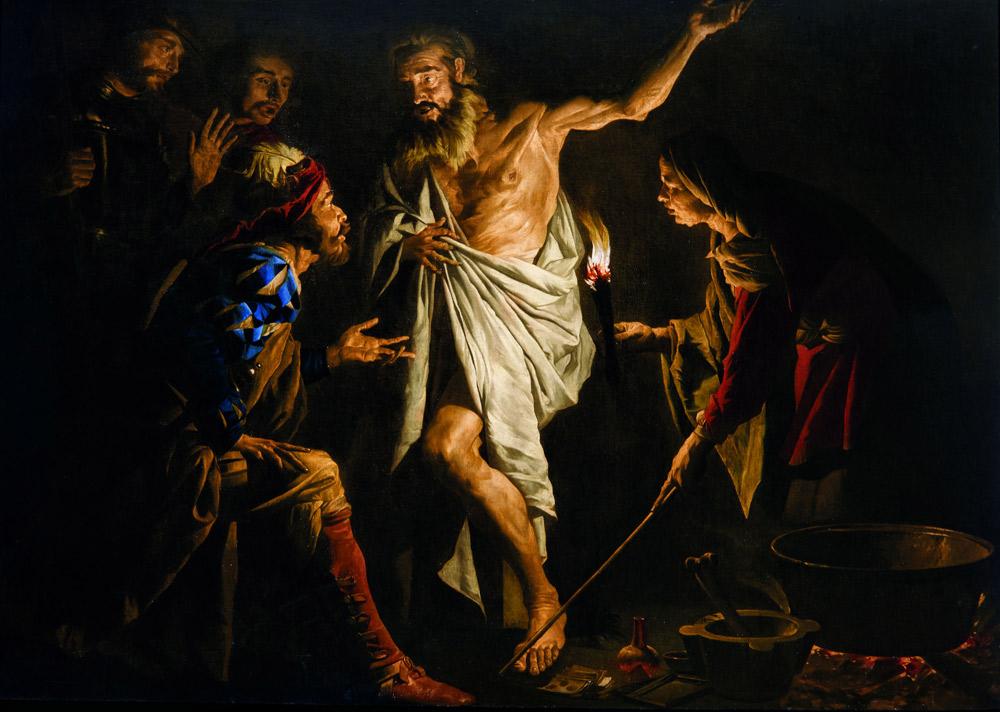 Matthias Stomer, Saul fa evocare Samuele dalla strega di Endor (1639-1641 circa, olio su tela, 170 x 250 cm; Collezione privata. Courtesy Robilant+Voena)