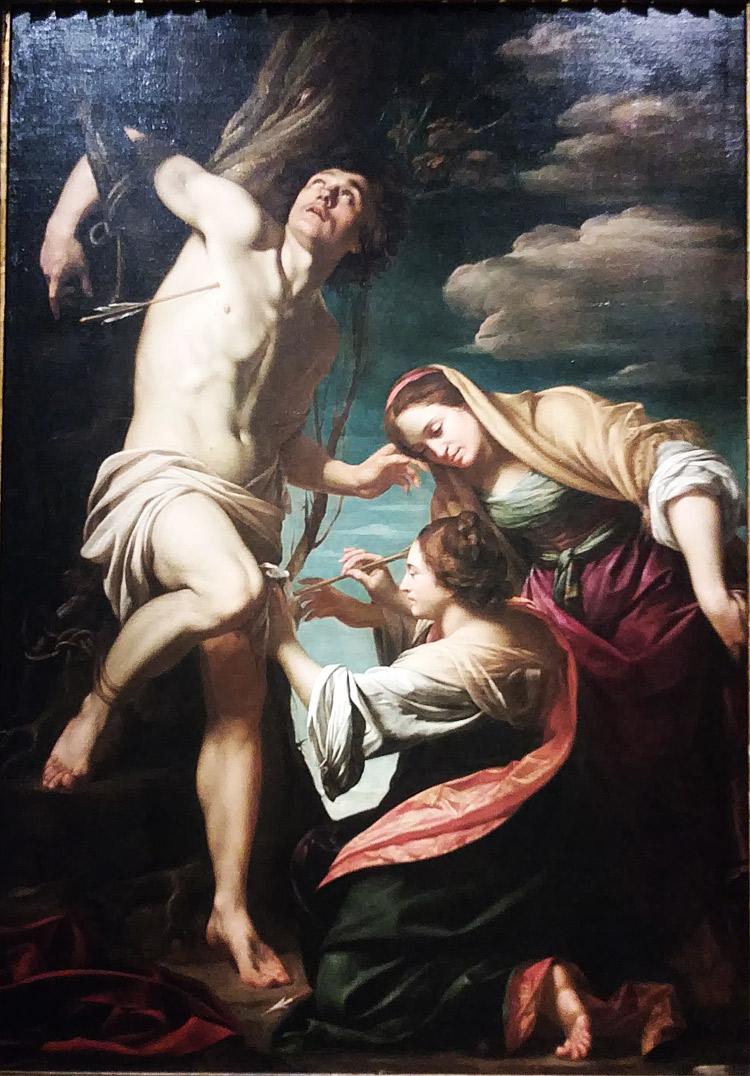 Simon Vouet, San Sebastiano curato dalla vedova Irene e dall'ancella (1622 circa; olio su tela, 246 x 174 cm; Collezione privata)