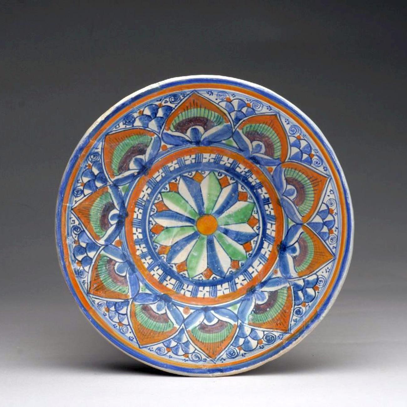Piatto all'occhio della penna di pavone (1500-1510 circa; maiolica; Montelupo Fiorentino, Museo della Ceramica)
