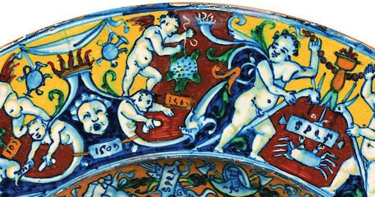 La decorazione della tesa. Si noti la data 1509