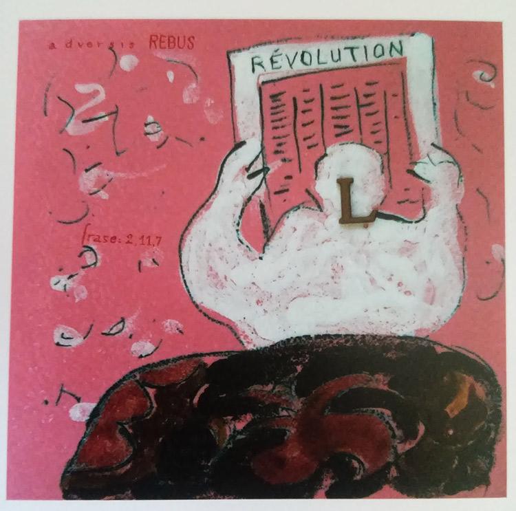Eugenio Miccini, La rivoluzione tradita (1968; smalti e lettere incollate su ceramica, 28,5 x 28,5 cm; Collezione Scatizzi)