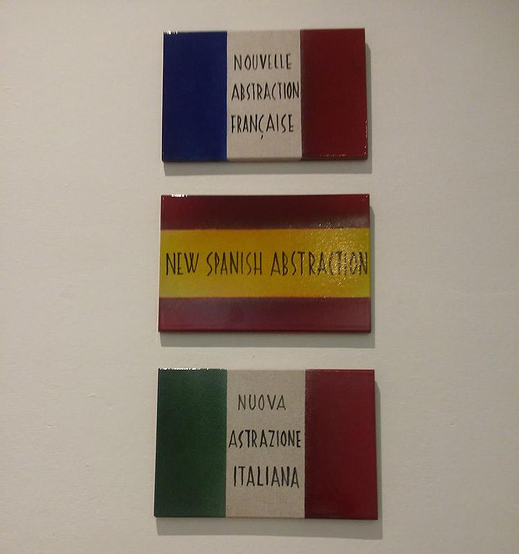 Sarenco, dall'alto al basso: Nouvelle abstraction française, Nuova astrazione italiana e New Spanish abstraction (tutte 1982, smalti su ceramica, 20 x 30 cm; Collezione Scatizzi)