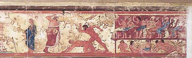 Riproduzione della parete sinistra della Tomba delle Bighe di Tarquinia, dettaglio con gli spalti