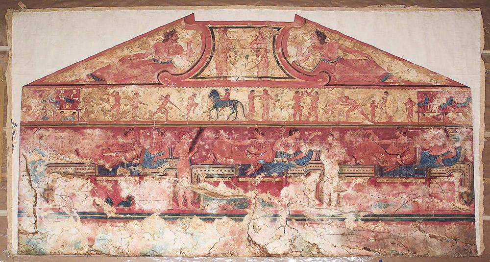 Riproduzione della parete sinistra della Tomba delle Bighe di Tarquinia