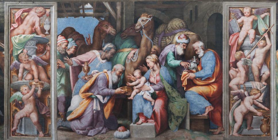 Scene del tamburo: Storie della Vergine, l'Adorazione dei Magi