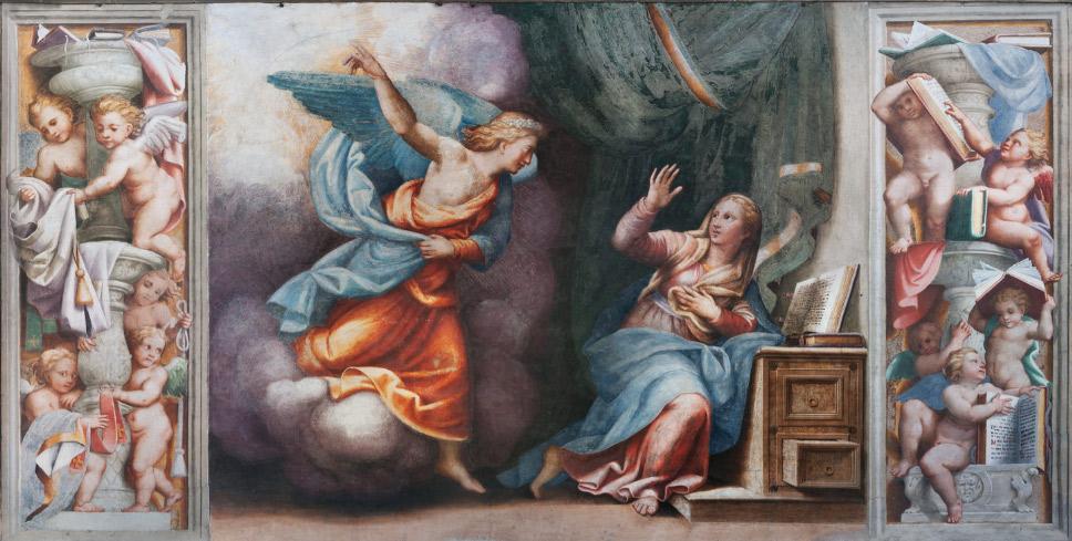 Scene del tamburo: Storie della Vergine, l'Annunciazione