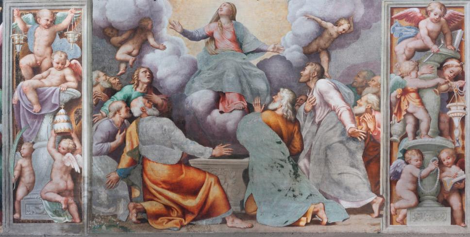 Scene del tamburo: Storie della Vergine, l'Assunzione