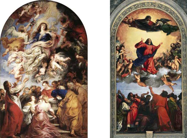 Confronto tra il dipinto di Rubens e l'Assunzione dei Frari di Tiziano