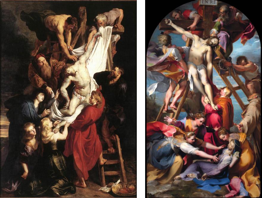 Confronto tra il dipinto di Rubens e la Deposizione di Federico Barocci