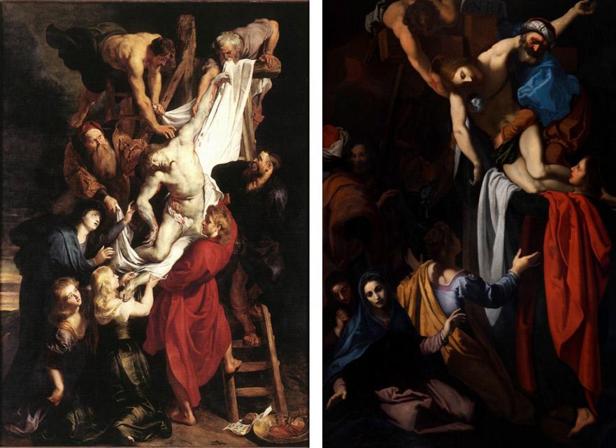 Confronto tra il dipinto di Rubens e la Deposizione del Cigoli
