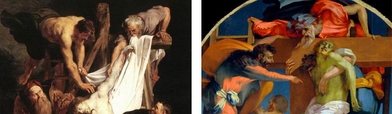 Confronto tra il dipinto di Rubens e la Deposizione del Rosso Fiorentino