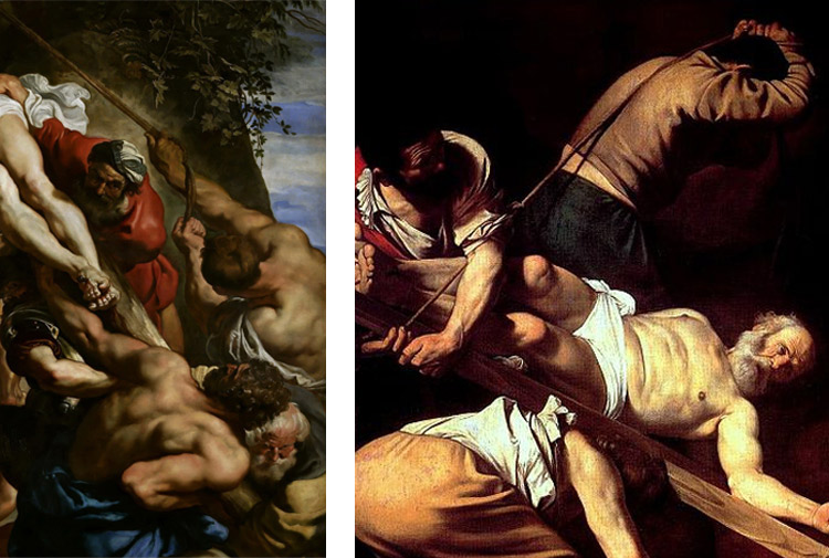 Confronto tra il dipinto di Rubens e la Crocifissione di san Pietro di Caravaggio