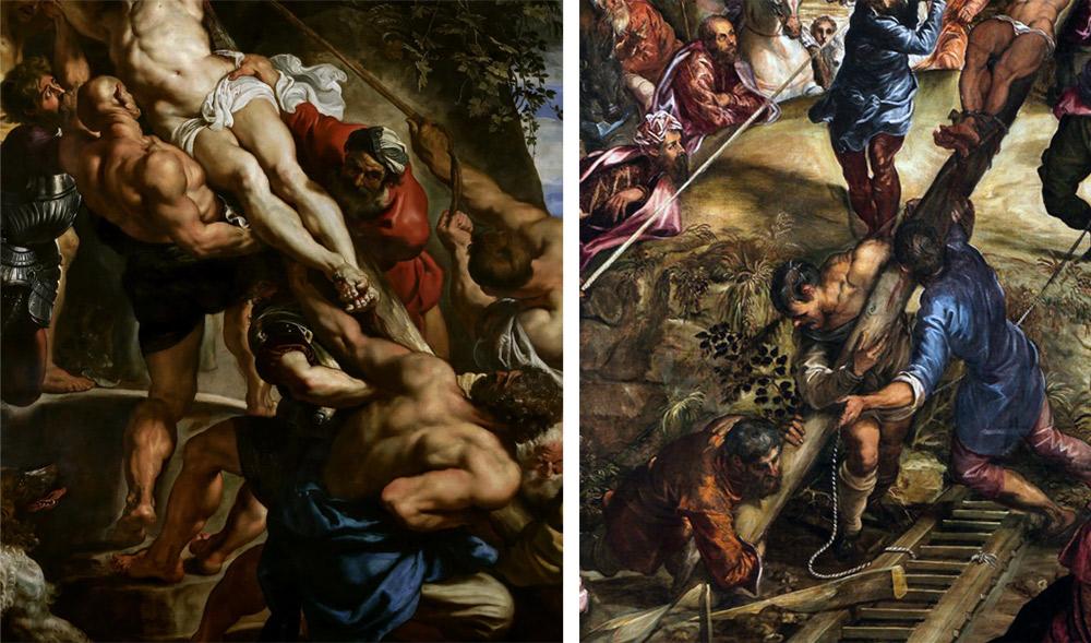 Confronto tra il dipinto di Rubens e la Crocifissione del Tintoretto