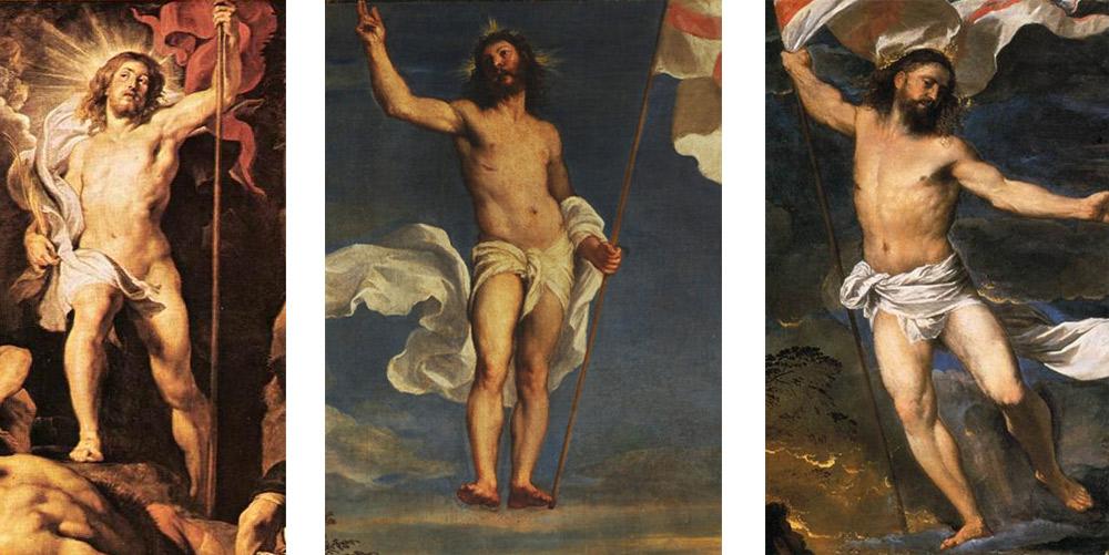 Confronto tra il Cristo risorto di Rubens e quelli di Tiziano nella Resurrezione della Galleria Nazionale delle Marche (al centro) e del Polittico Averoldi (a destra)