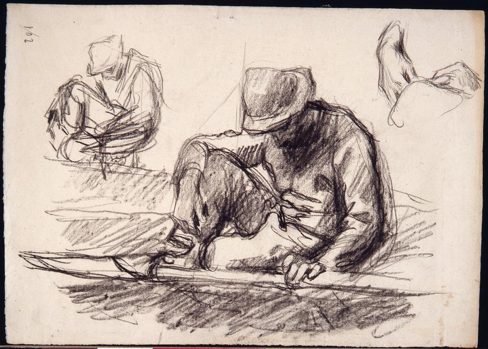 ... Studio Per Al Tempo Della Pellagra U2013 Visione Triste (1898 Circa;  Carboncino Su Carta, 240 X 338 Mm; Ferrara, Gallerie Du0027Arte Moderna E  Contemporanea)