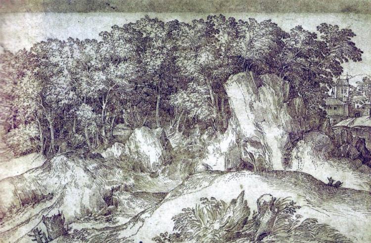 Domenico Campagnola, Paesaggio roccioso con un fitto bosco
