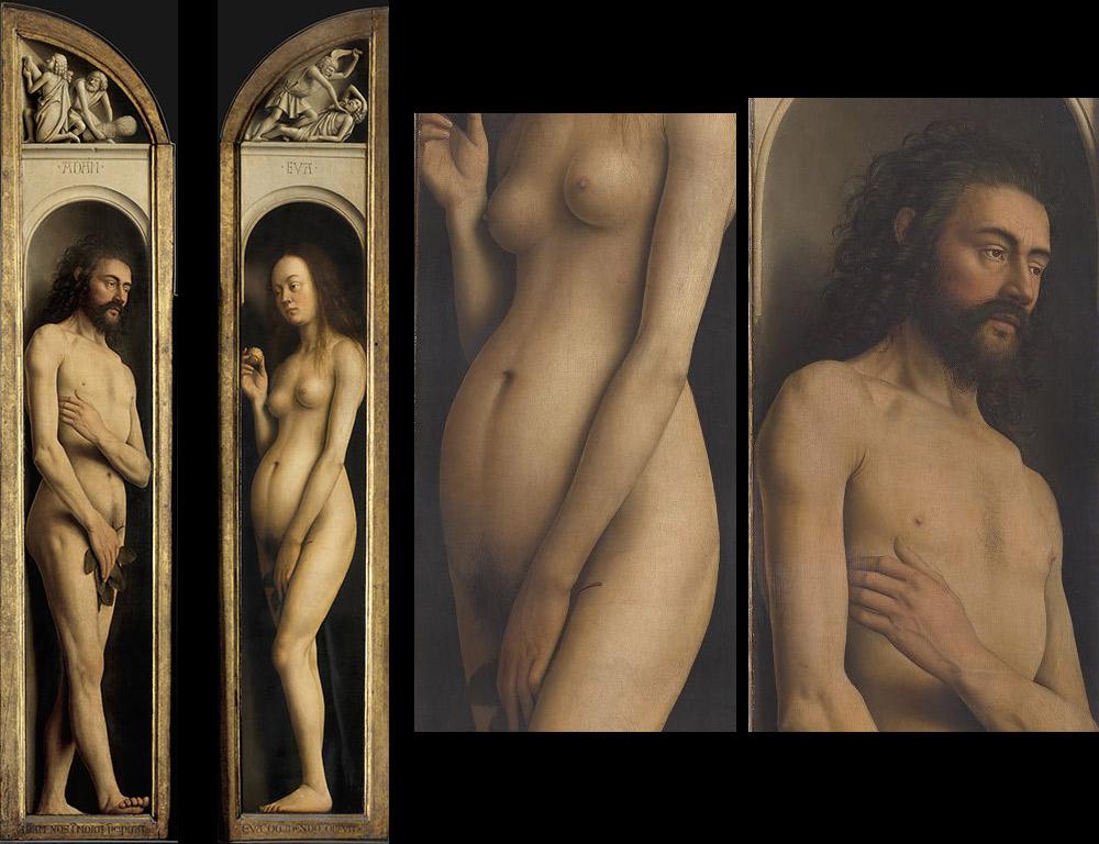 Adamo ed Eva, e dettagli dei loro corpi. Ph. Credit KIK-IRPA