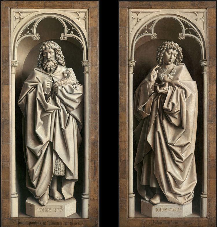 I pannelli con san Giovanni Battista e san Giovanni Evangelista. Ph. Credit KIK-IRPA
