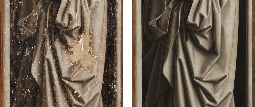 La figura del san Giovanni Evangelista prima e dopo i risarcimenti. Ph. Credit KIK-IRPA