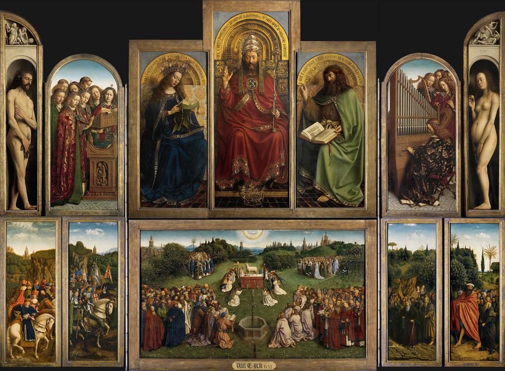 Jan van Eyck e Hubert van Eyck, Polittico dell'Agnello Mistico (datato 1432; olio su tavola, 350 x 470 cm aperto, 350 x 223 cm chiuso; Gent, Cattedrale di San Bavone). Ph. Credit KIK-IRPA