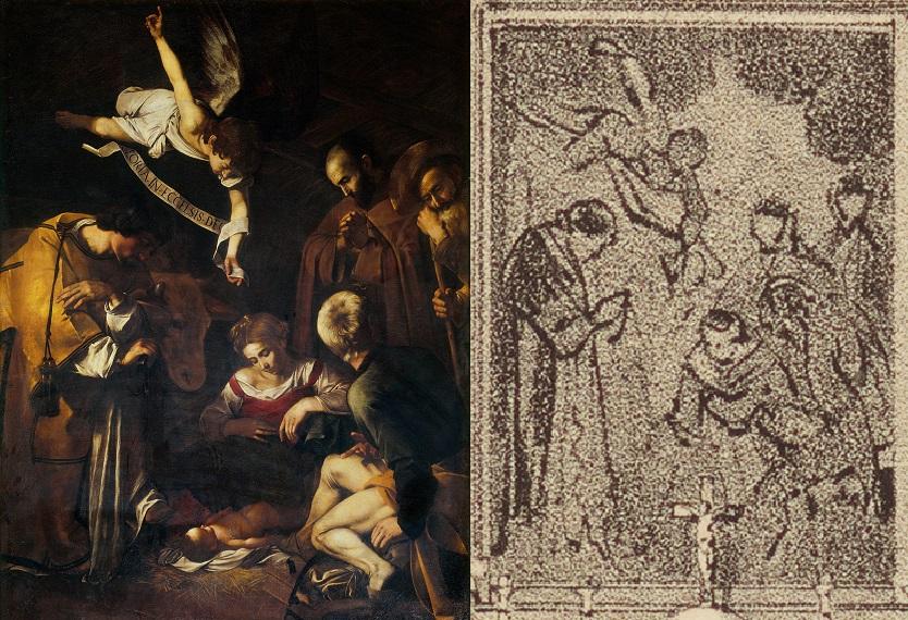 La Natività di Caravaggio a confronto con la sua riproduzione nella litografia di Philippe Benoist