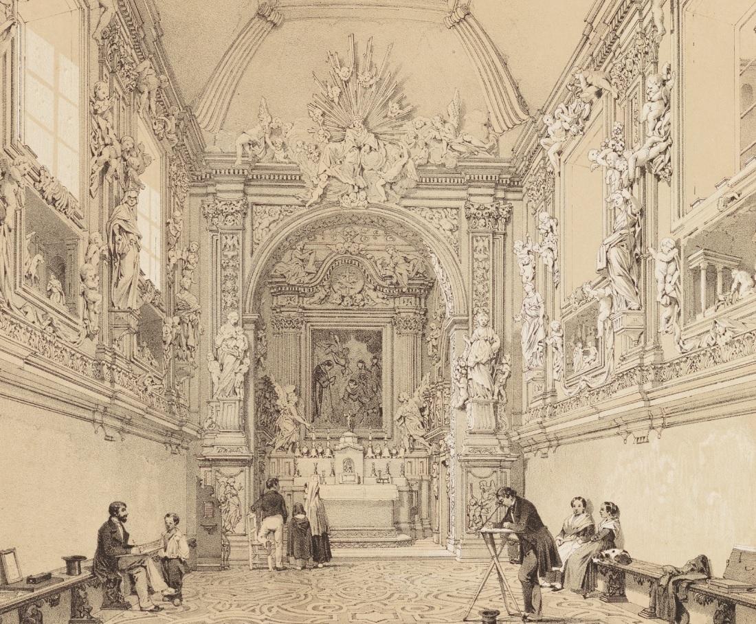 La litografia Eglise de la Compagnie de St. Laurent/Chiesa della Compagnia di San Lorenzo, di Philippe Benoist (part.)