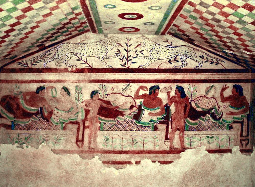 Arte Etrusca, Scena di banchetto (473 a.C.; affresco; Tarquinia, Tomba dei Leopardi)