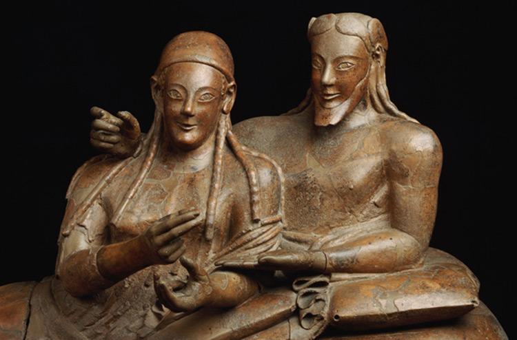 Arte etrusca, Sarcofago degli sposi, dettaglio