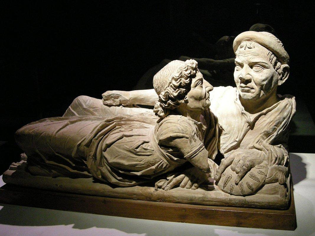 Arte etrusca, Urna degli sposi (II-I secolo a.C.; terracotta; Volterra, Museo Etrusco