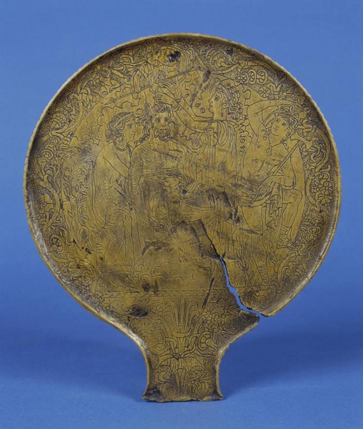 Manifattura etrusca, Specchio con scena della nascita di Minerva