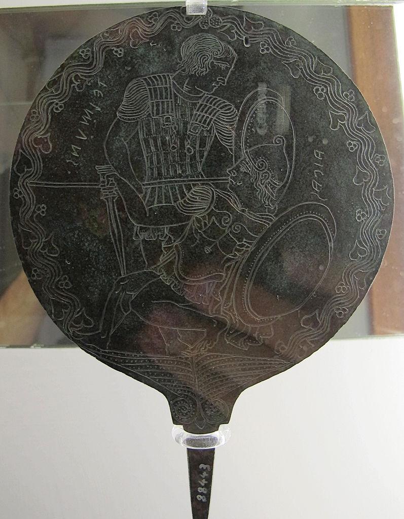 Manifattura etrusca, Specchio con scena di combattimento con un episodio legato ad Aiace Telamonio