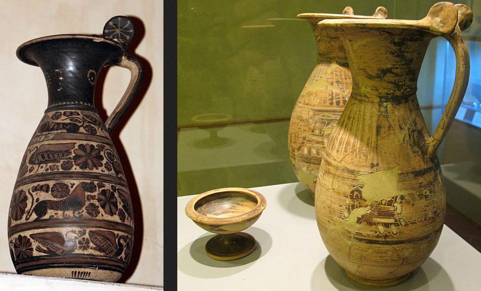 Ceramica etrusco-corinzia. A sinistra: olpe (580-560 a.C. circa; ceramica; Pisa, Antiquarium dell'Università di Pisa). A destra: due olpai e una coppa (fine VII - inizi del VI secolo a.C.; ceramica; Fucecchio, Museo Civico)