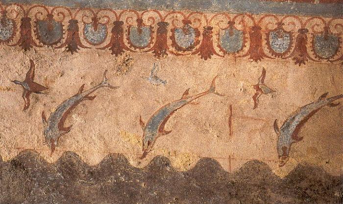 Arte etrusca, Delfini (530 a.C.; affresco; Tarquinia, Tomba della Caccia e della Pesca)