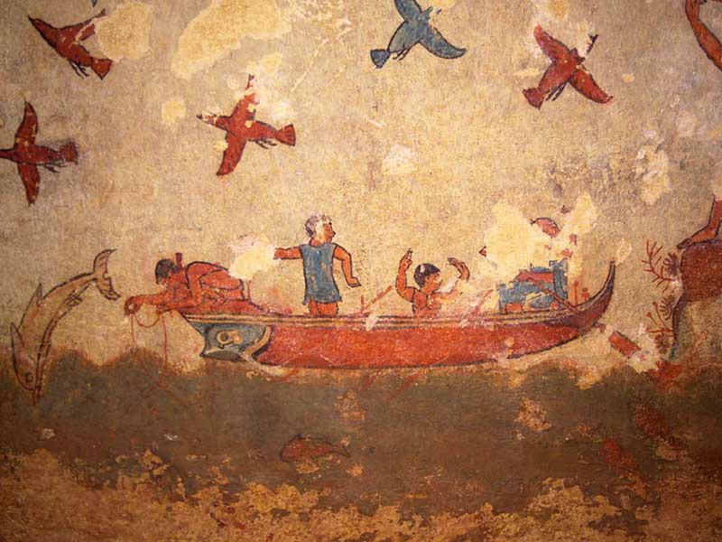 Arte etrusca, scena di pesca (530 a.C.; affresco; Tarquinia, Tomba della Caccia e della Pesca)