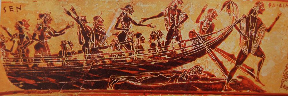 Kleitias, Cratere attico detto Vaso François, dettaglio con la nave degli ateniesi a Creta (570 a.C. circa; ceramica a figure nere, 66 x 57 cm; Firenze, Museo Archeologico Nazionale)
