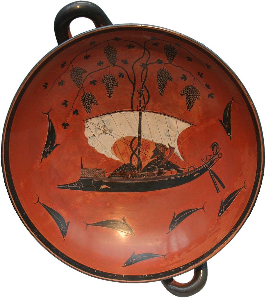 Exekias, Kylix con il mito di Dioniso e dei pirati tirreni trasformati in delfini (530 a.C. circa; ceramica a figure nere, diametro 30,5 cm, altezza 13,6 cm; Monaco di Baviera, Staatliche Antikensammlungen