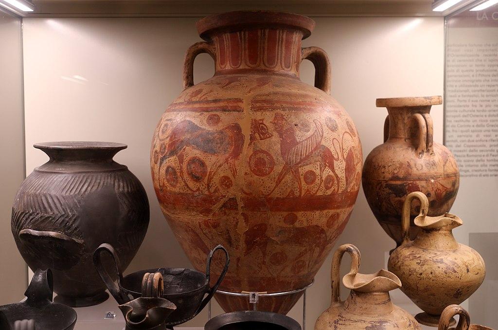 Pittore della Sfinge Barbuta, Anfora con figure di animali (630-580 a.C. circa; ceramica; Roma, Museo Nazionale Etrusco di Villa Giulia)