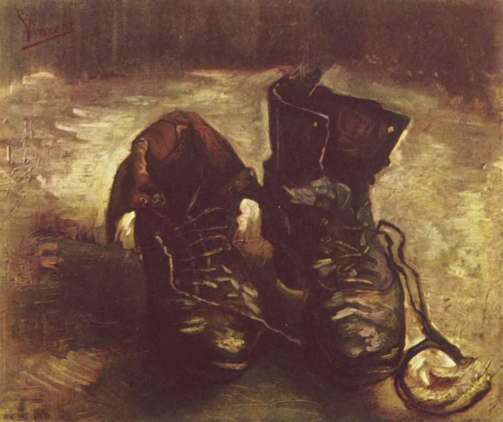 Vincent van Gogh, Un paio di scarpe (1886; olio su tela, 37,5 x 45,5 cm; Amsterdam, Van Gogh Museum)