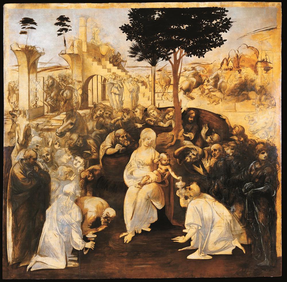 Leonardo da Vinci, Adorazione dei magi (1481-1482 circa; olio su tavola; Firenze, Uffizi)