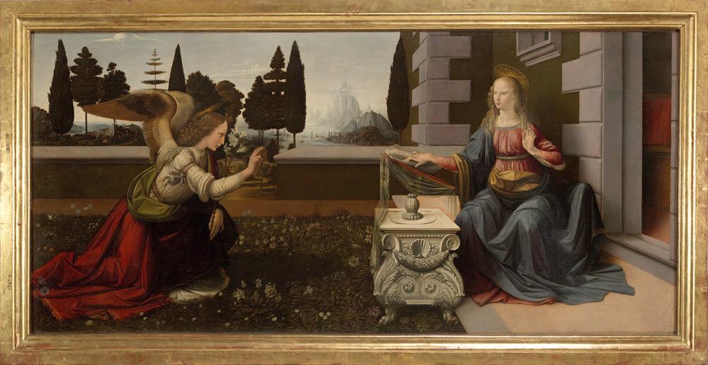 Leonardo da Vinci, Annunciazione (1472-1475 circa; olio su tavola; Firenze, Uffizi)