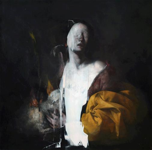 Nicola Samorì, Agnese (2009; olio su rame, 100 x 100 cm)
